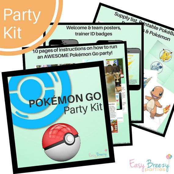 POKEMON GO Party Kit  Fun and energetic party game instructions plus printables by Easy Breezy Parties. Download instantly from https://www.etsy.com/listing/470978193/pokemon-go-party-kit-detailed-activity?ref=shop_home_active_1