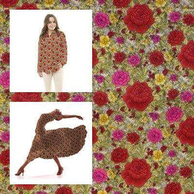 Tela popelín de algodón con estampado floral de claveles fondo crudo. Popelín flamenca sostenido y de tacto muy suave, ideal para la confección de trajes de sevillana, vestidos, camisas y faldas. http://www.aleko.kingeshop.com/Popelin-Clavel-dbaaaajFa.asp