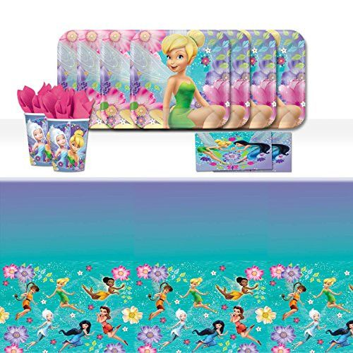 Each of these fantastic classic tableware party packs includes 16 paper cups 16 square paper plates 16 paper napkins u0026 a plastic table cover 9  sc 1 st  Pinterest & 9 best !! Tinkerbell Party Supplies !! images on Pinterest | Tinker ...