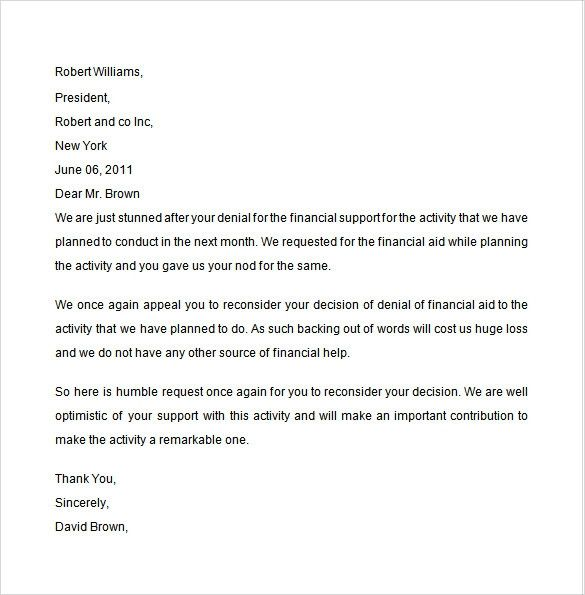 Financial Aid Petition Letter Samples Inspirational 8 Financial