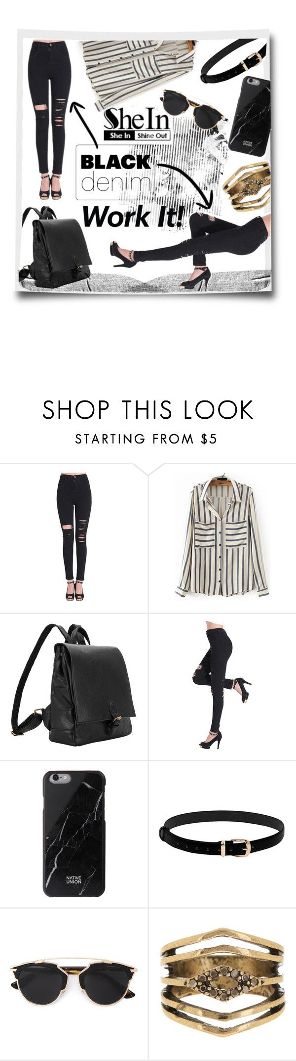 """Black denim (Чёрный деним)"" by kseniz13 ❤ liked on Polyvore featuring Native Union, Christian Dior and Steve Madden"
