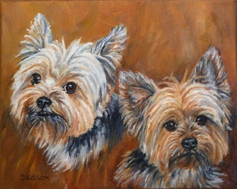 Spanky and Lilly Oil Yorkie Dog Pet Art Portraits Yorkshire Terrier Commission, painting by artist Debra Sisson