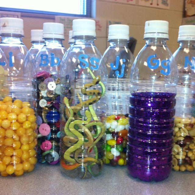 Phonics Bottles-Gg bottle has glitter, Ll bottle has lemon drops, etc. Glue lids shut.