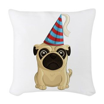 Party Pug Woven Throw Pillow from AG Painted Brush T-Shirts. #pillow #pug #partyhat