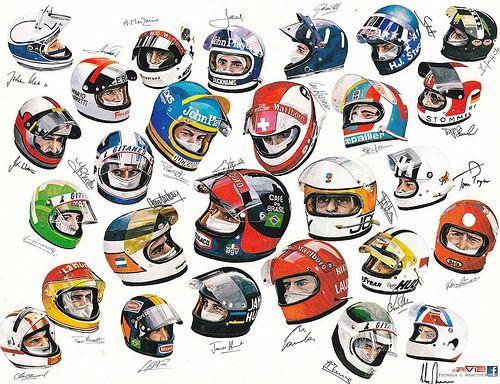 Vintage Formula 1 Helmets http://goodhal.blogspot.com/2013/03/helmets-003.html #Helmets #Formula1 #Racing