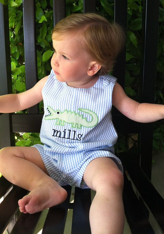 Personalized Boy's Blue and White by dotsndimplesboutique on Etsy