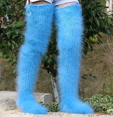 новый ручной вязки мохера носки пушистый чулки светло синий гетры на SUPERTANYA