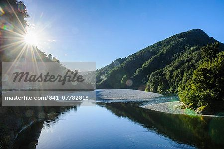 Beautiful Buller River in the Bulller Gorge, along the road from Westport to…
