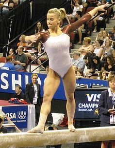 Alicia Sacramone at 2008 Nationals in Boston  Alicia Marie Quinn (née Sacramone)  born Boston Mass (December 3, 1987) raised in Winchester is a retired American artistic gymnast and US Olympic silver medalist