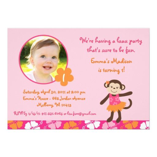 19 best monkey birthday invitations for girls images on pinterest hula monkey luau party girls birthday invitations filmwisefo Choice Image