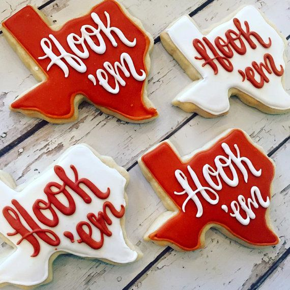 Hook 'em University of texas cookies by TheHayleyCakes on Etsy