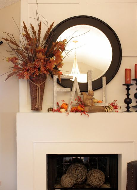 Fall decor for mantel...{love the skinny letters}