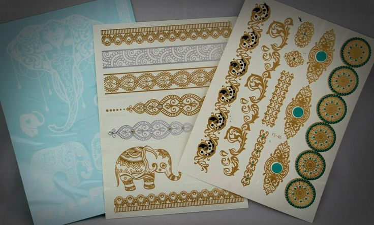 Airavata collection - $12 for three sheets of metallic and white tattoos. Enter code SWSK2DIS to receive 20% off your first purchase today! saltwatersky.com.au Featuring elephants of every size, including the decorated Indian Elephant head amongst the white tattoos.  Also features silver and gold arm bands, a Mandala and gold and turquoise tattoos. #temporarytattoos #metallictattoos #weddingtattoos #indianelephants #summerstyle #glamour #beachfashion #goldtattoos #silvertattoos #whitetattoos