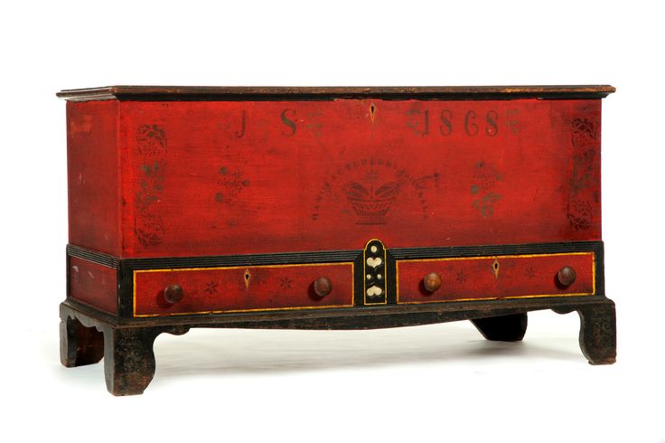 Sold for $15,275 DECORATED BLANKET CHEST  John Sala, Soap Hollow, Pennsylvania, dated 1868. Chest over two drawers on bracket feet. Original red and black pa...