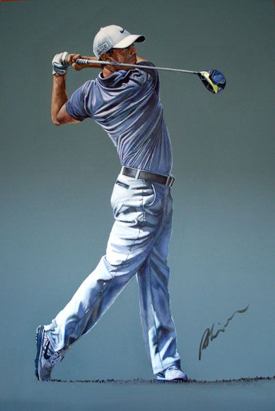 Rory Mcilroy 2016 Original Painting by Mark Robinson. Robinson Golf Art 2016 Collection. Now showing at Galgorm Castle Golf Club, Northern Ireland.