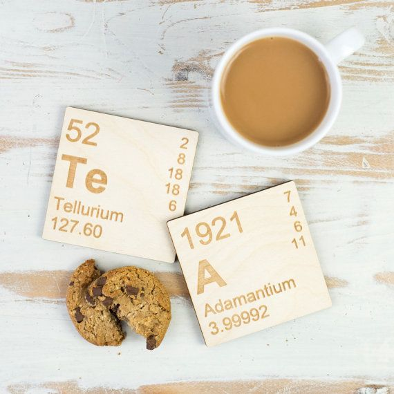 TeA Periodic Table Wooden Coasters Set. Mother's Day Present for Mum, Dad for Father's Day. Stocking filler science elements gift for him