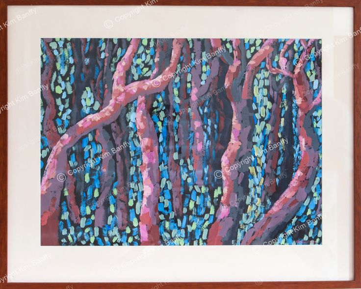 Pointillist painting of Angophoras (apple gums) titled Angophora Afternoon. For sale on my website. Acrylic paint.