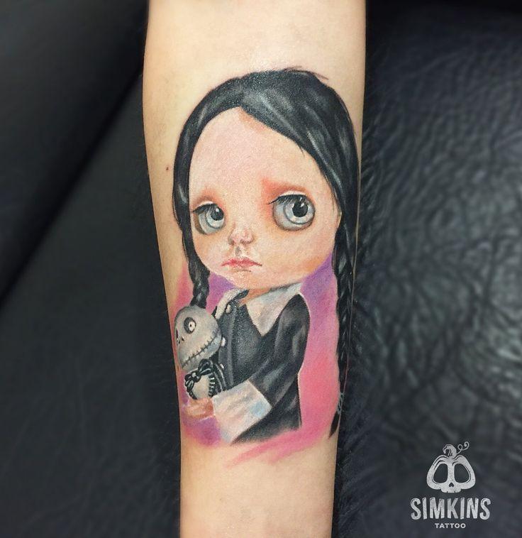 Wednesday Addams tattoo, doll tattoo, cute