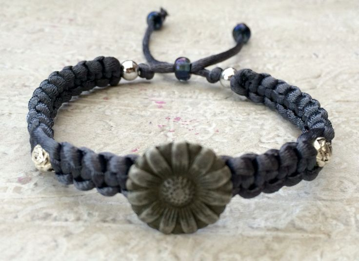Grey Button Bracelet