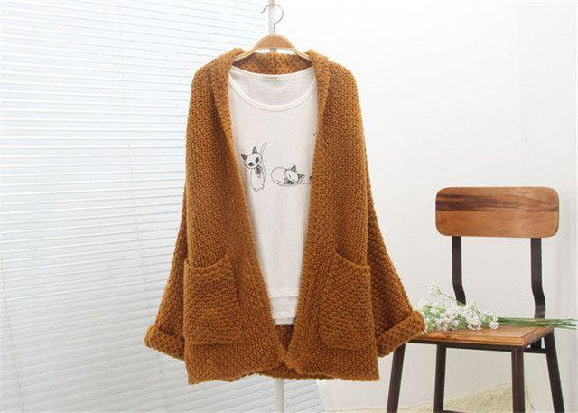 2015 Korean Style Winter Large Size Women Long Knit Cardigan Art Retro Ladies Sweater Jacket Beige Coffee Red Big Pocket YB171