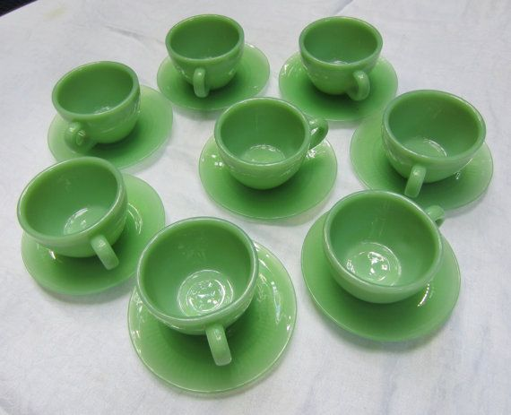 Fire King Oven Glass Cups and Saucers by heydarlin on Etsy, $96.00