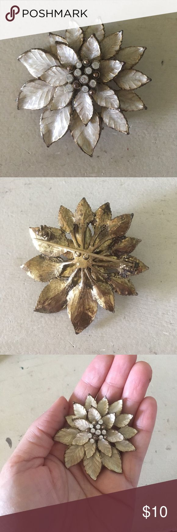 Gold & Cream Poinsettia Brooch So stunning for Christmas- beautiful on a jacket, sweater, or even in a fancy hairstyle! Purchased from Bronner's in Frankenmuth, MI. Jewelry Brooches