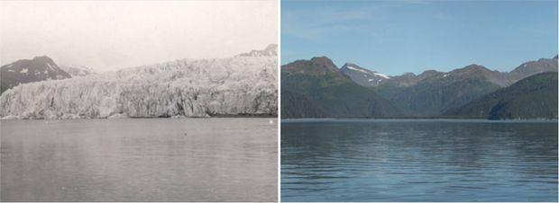 Aljaška v júli 1909 vs. v auguste 2004. (Foto: NASA)