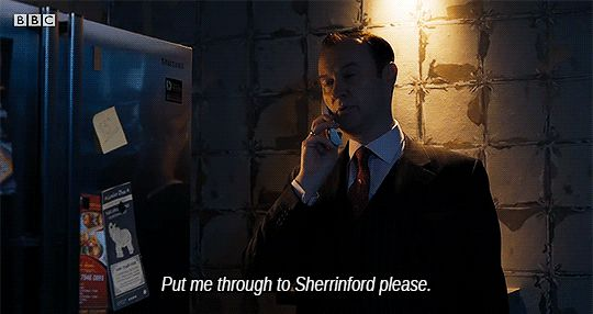 "[GIF] SHERLOCK S4 E1: The Six Thatchers. ""Put me through to Sherrinford, please."" - Mycroft (Mark Gatiss)"