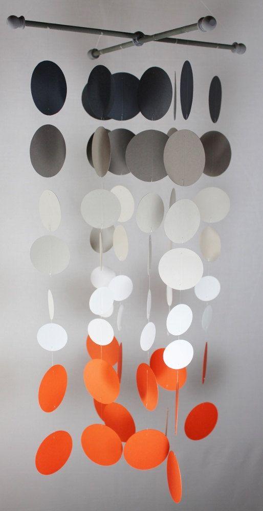 Grey and Orange Nursery Mobile...Tangerine by katemaedesigns