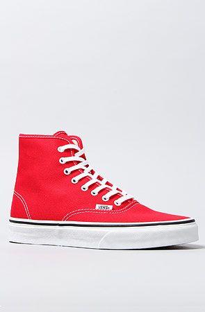 The Authentic Hi Sneaker in True Red    http://www.skateshop.cz/boty/damske-boty/damske-street-boty/damske-street-boty-vans-authentic-hi-cervena-10-5-true-red
