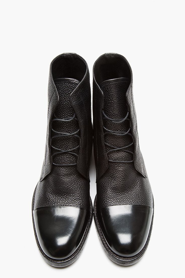 MR.HARE Black Scotchgrain Matte Leather Boots | Raddest Men's Fashion Looks On The Internet: http://www.raddestlooks.org