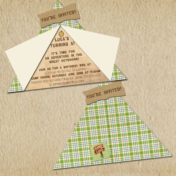 Camping Birthday Party Invitation - Camp-Out Party - Custom, Printable - Rustic, Greens & Browns - on Etsy, $12.00