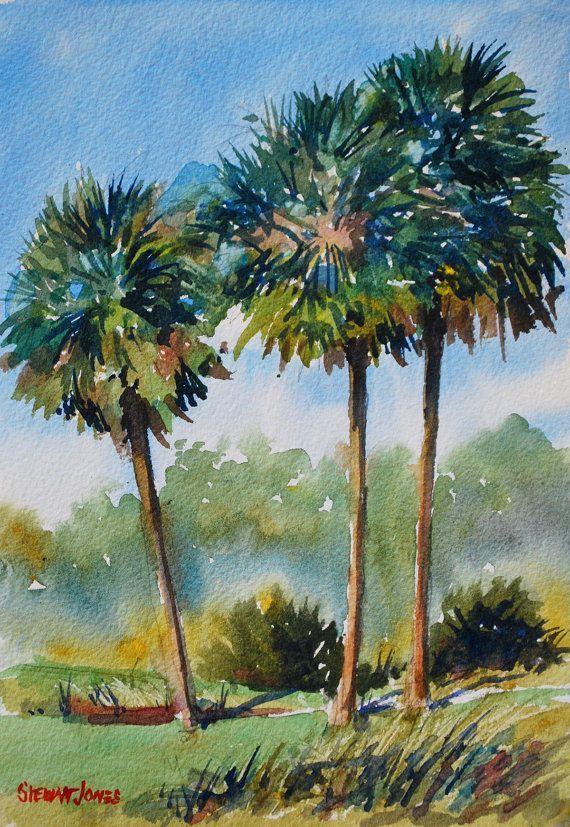 Celebration Palms 10 X 7 Original Watercolor Painting Palm Leaves