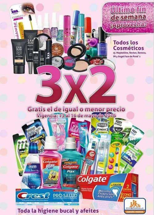 Festival de belleza Chedraui 3x2 en comséticos