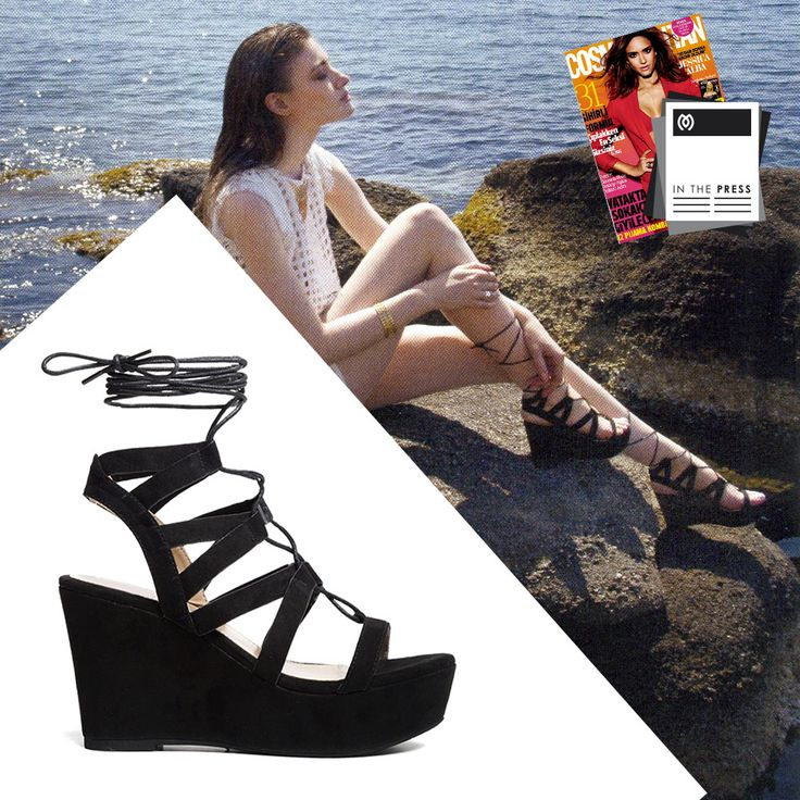 Summer is coming!  Editorial at #Cosmopolitan Greece with #MIGATO DF0018 black wedges! SHOP NOW ► miga.to/DF0018-L14en #wedges
