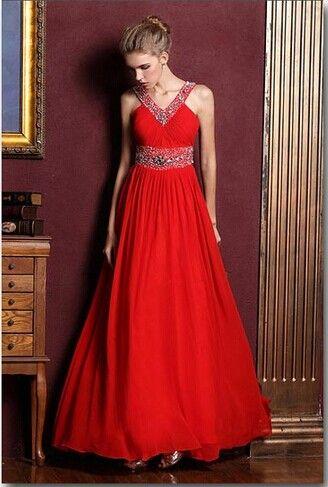 Röd brudklänning halterneck klänning långt avsnitt av balklänningar