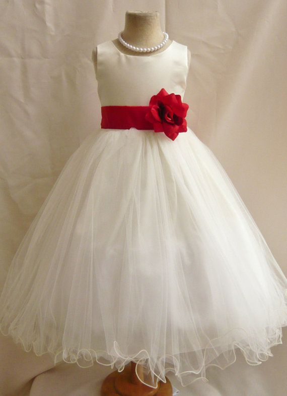 Flower Girl Dresses  IVORY with Red Cherry by NollaCollection