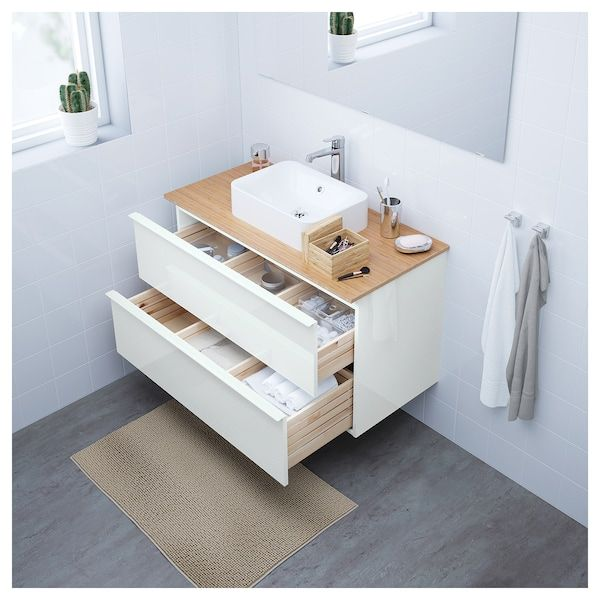 Godmorgon Meuble Lavabo 2tir Brillant Blanc 100x47x58 Cm Ikea Meuble Lavabo Meuble Vasque Ikea Lavabo A Poser