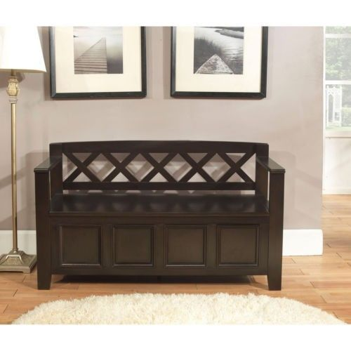 Hall Storage Bench Entryway Wooden Shoe Storage Cushion Foyer Wood Seat Rack New Wyndenhall