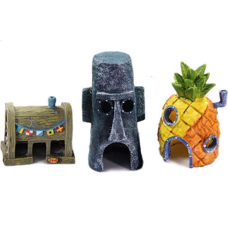 Creative Funny Spongebob Style Aquarium Fish Shelter Aquarien Spiele Fur Kinder Dekoration