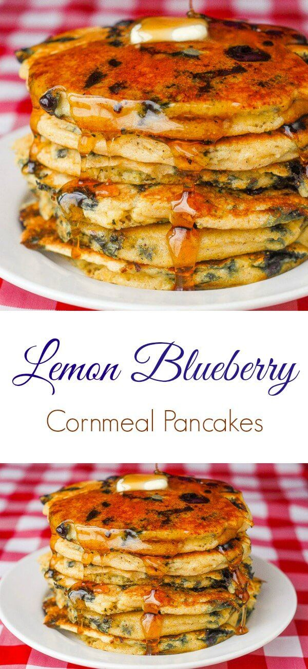 Blueberry Lemon Cornmeal Pancakes. Breakfast heaven! These blueberry cornmeal pancakes with a lemon twist are some of the lightest & best ever. The c...