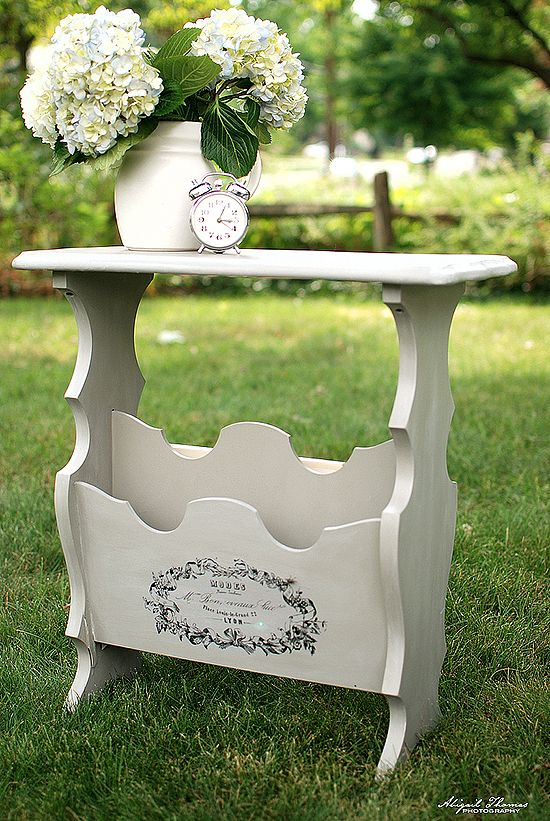 Chalk Painted Side Table with French Typography