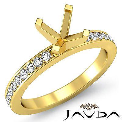 Round Semi Mount Pave Setting Diamond Women Wedding Ring 18k Yellow Gold  0.5Ct