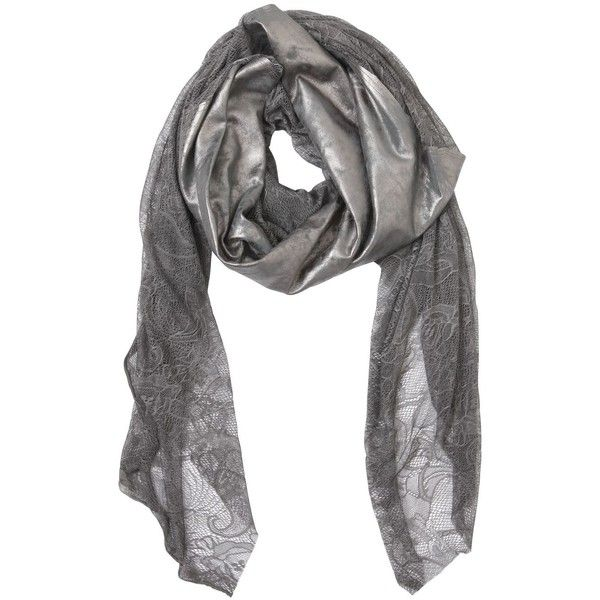 CUTULI CULT Metallic Coated Leather & Lace Scarf ($258) ❤ liked on Polyvore featuring accessories, scarves, grey, leather shawl, leather scarves, metallic scarves, gray shawl and lace scarves