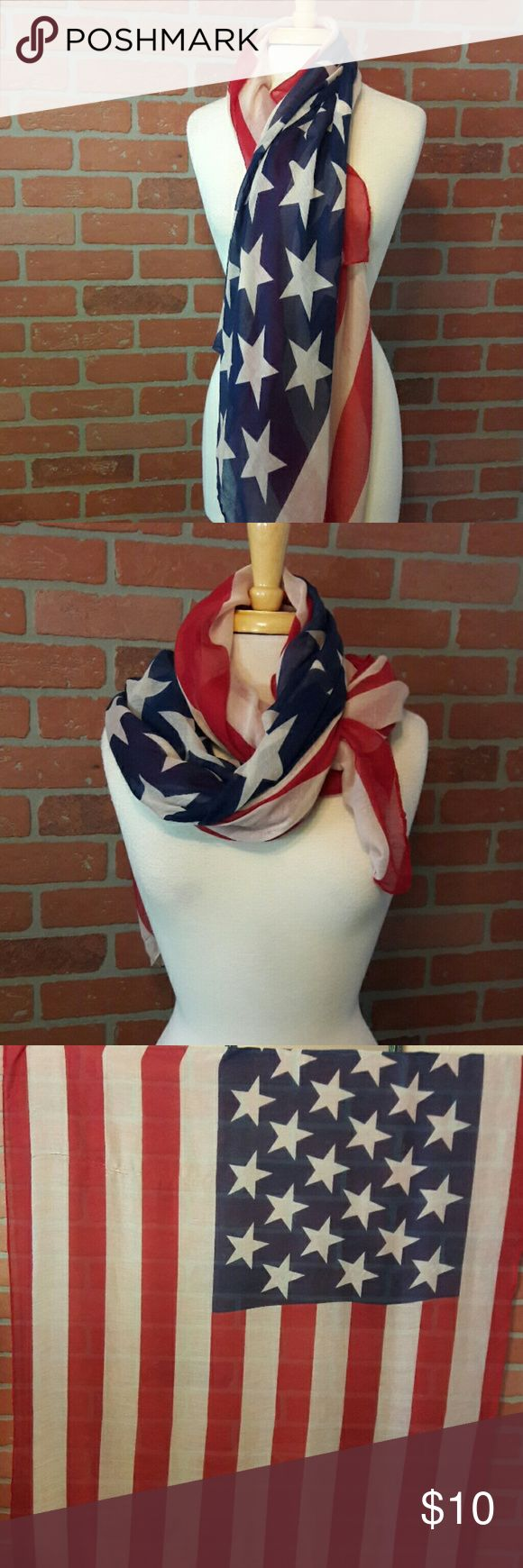 """Sheer American Flag Scarf/Shawl Celebrate 'Merica all year long with this beautiful americana scarf. USA flag, sheer, wide & long. Does have 2 runs in it, priced accordingly. See last 2 photos for damage.  Width: 42"""" Length: 70+ """" Accessories Scarves & Wraps"""