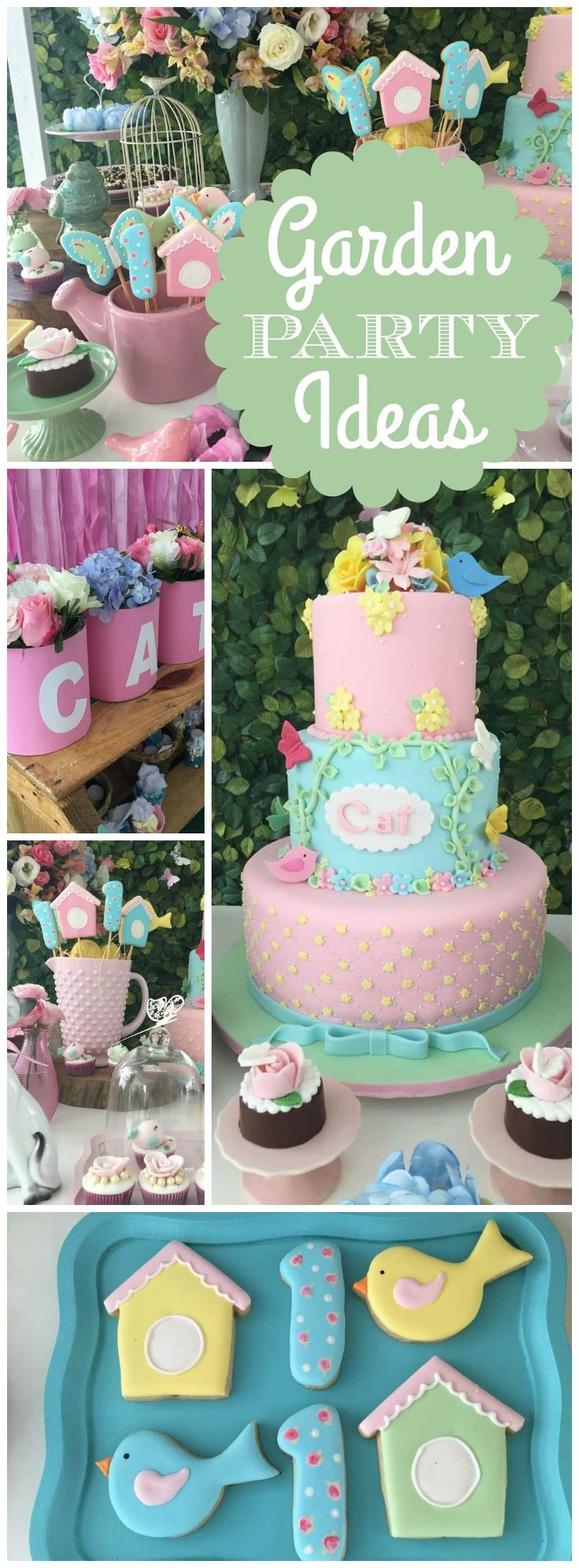 Love this garden themed birthday party in pastels! See more party ideas at CatchMyParty.com!