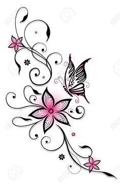 Roze en zwarte bloemen met vlinder, zomertijd