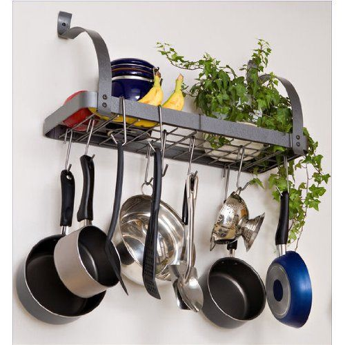 Rack It Up Bookshelf Wall Rack, Steel Gray By Enclume. Conveniently Mounts  As A Kitchen Shelf And Pot Rack In One.