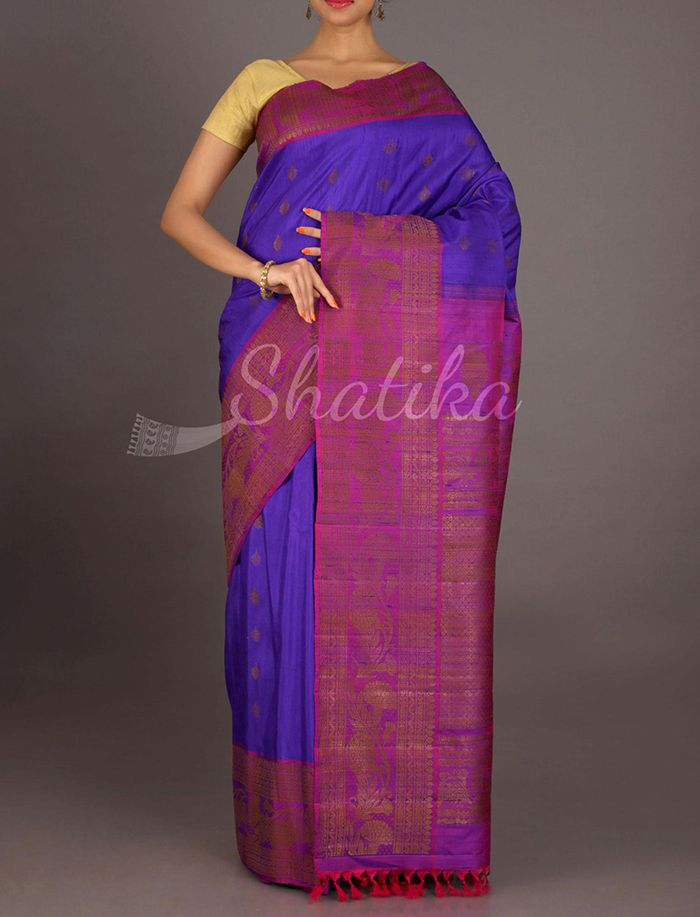 Heena Neon Purple With Broad Bel Border #JuteSilkSaree