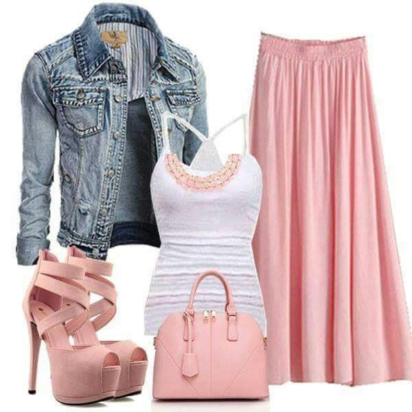 Pink white and denim outfit